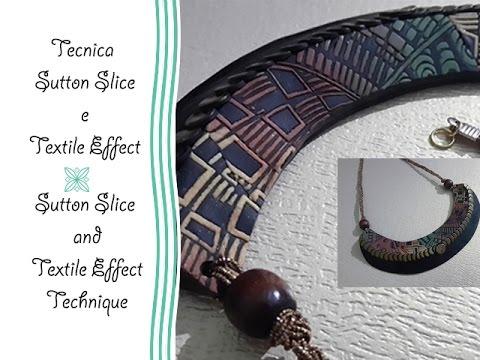 Polymer clay tutorial: sutton slice e textile effect - collana - necklace
