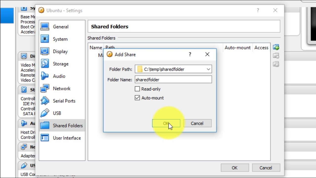 VirtualBox Tutorial 10 - Create Shared Folder between Windows Host and  Ubuntu Guest OS