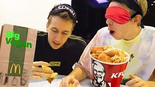 VEGAN VS REAL FAST FOOD BLINDFOLD CHALLENGE