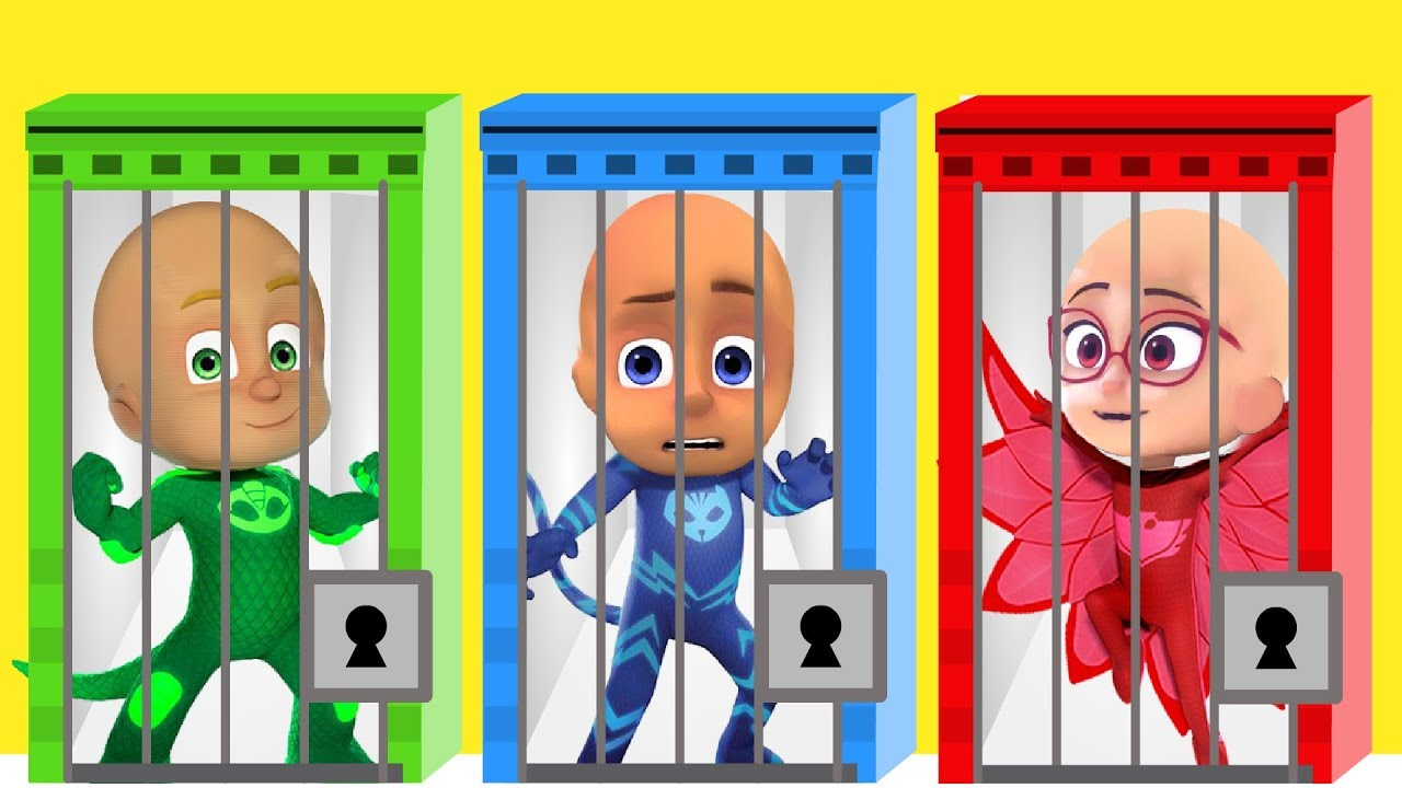 Learn Colors with Pj Masks Keys and Wrong Hairs