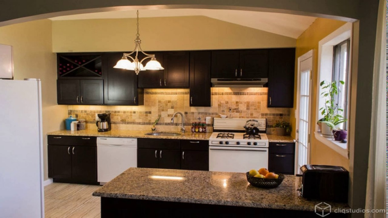 Kitchen design white appliances dark cabinets - YouTube