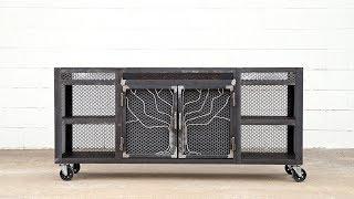"""DIY Modern Industrial """"Tree"""" TV Stand/Media Console - Simple Steel Bending Jig"""