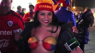 Sexy Ecuatoriana se pinto los Pechos en Copa America Chile 2015