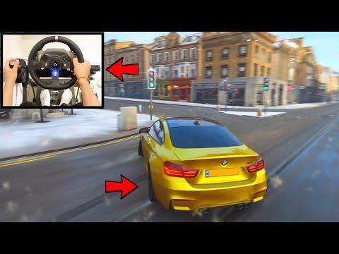 Forza Horizon 4 Drifting BMW M4 In Snow (Steering Wheel + Shifter) No HUD Gameplay