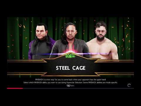 WWE 2K19 Shinsuke Nakamura VS Jeff Hardy,Finn Bálor Triple Threat Steel Cage Match