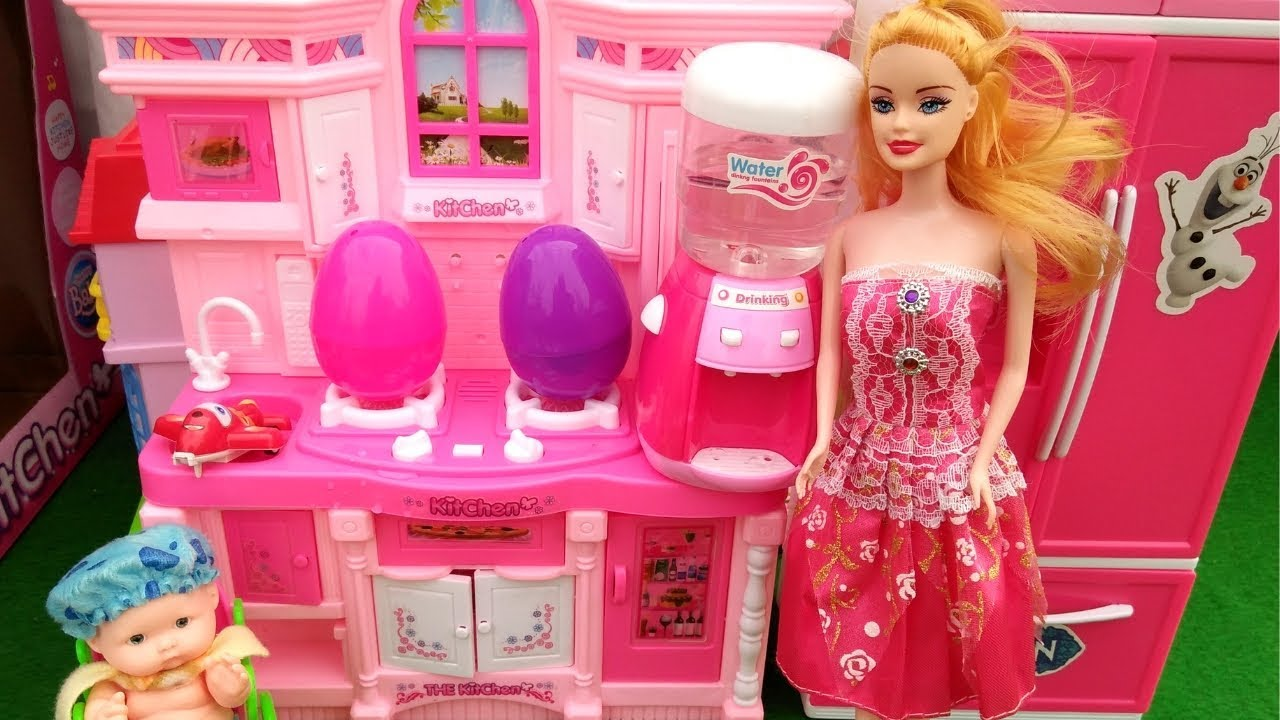 Toy Kitchen Set For Kids Barbie Kitchen Play Set Cooking Toys Food Surprise Egg Youtube