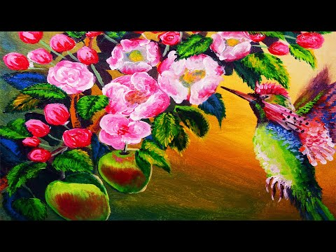 HUMMINGBIRD AND APPLE BLOSSOMS PAINTING TUTORIAL BEGINNERS | LEARN HOW TO PAINT ACRYLIC ART LESSON