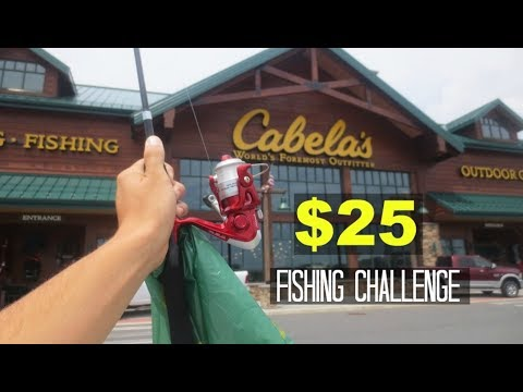 $25 Cabelas Fishing Challenge!! (Surprising!)