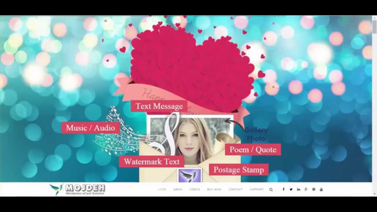 Mojdeh Wordpress Greeting Ecard Postcard Plugin Youtube