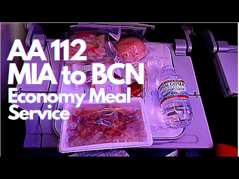 American Airlines AA 112 MIA To BCN - Economy Meal Service