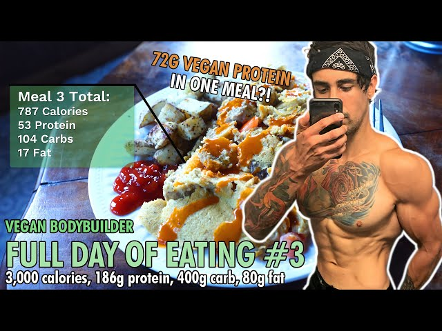 What a VEGAN BODYBUILDER Eats in a Day - Mini Cut Edition! 3,000 Calories, 186g Plant Based Protein