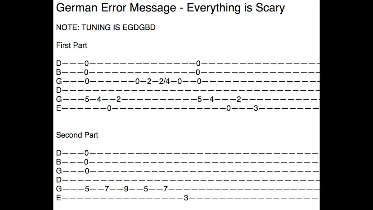 German Error Message Everything Is Scary Guitar Tab How To Play Youtube