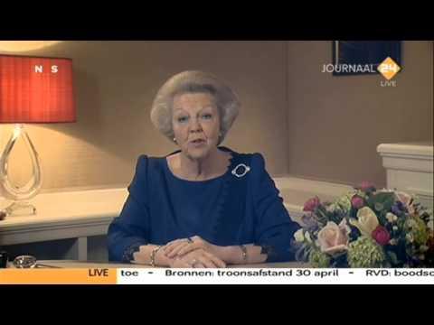 Koningin Beatrix treedt af - Retirement Queen Beatrix The Netherlands Holland Speech 28-01-2013