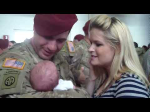 Soldier comes home from Afghanistan and meets his baby boy for the first time!
