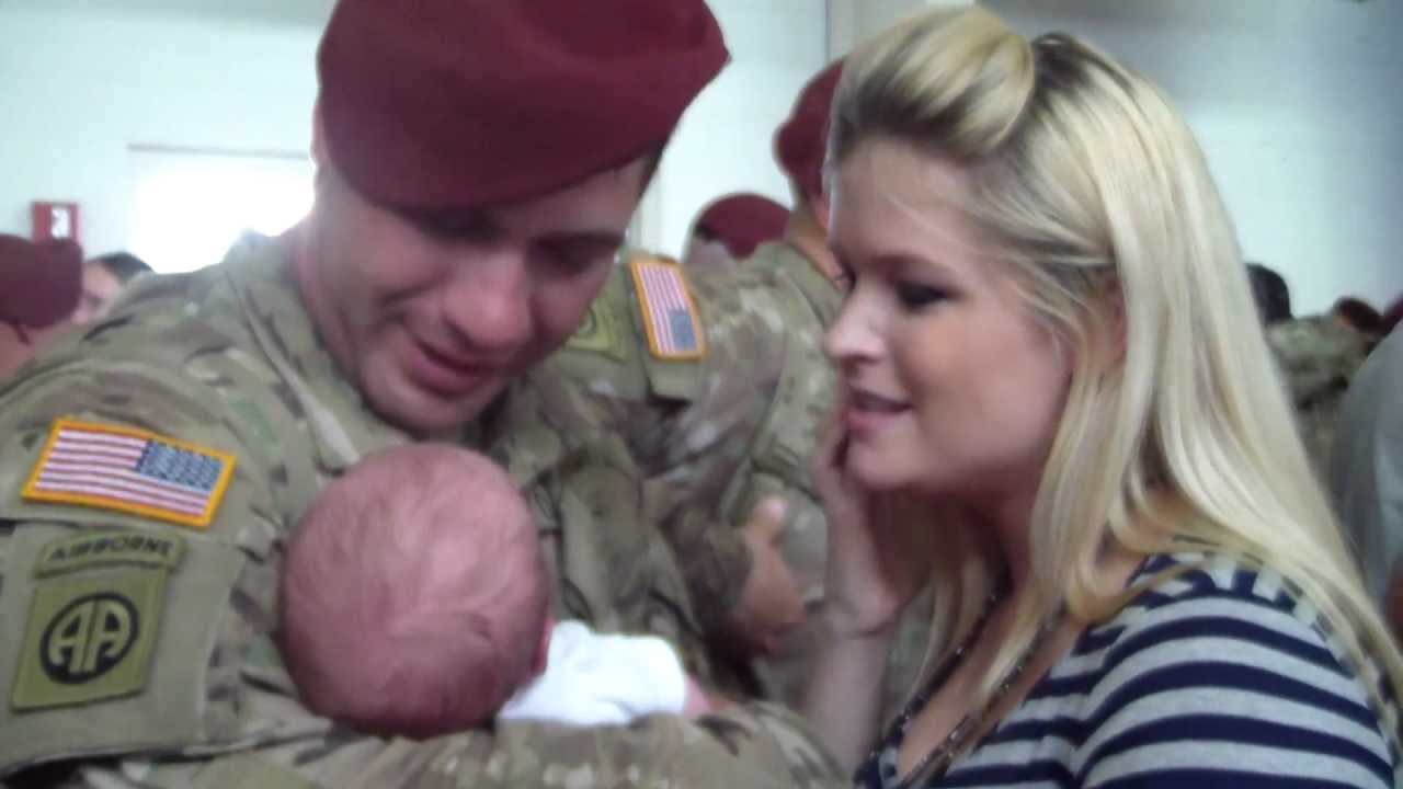 Soldier Comes Home to Discover a Baby!