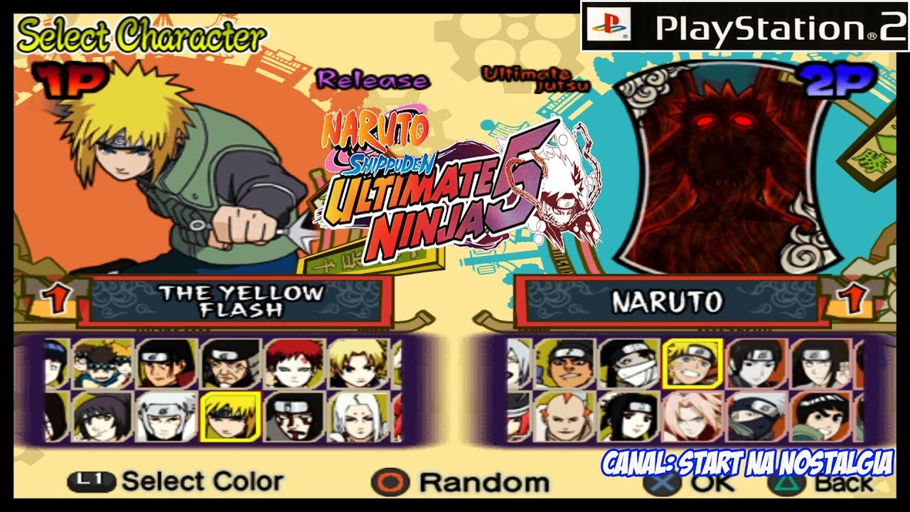 Naruto Shippuden Ultimate Ninja 5 PS2 - LISTA TODOS OS PERSONAGENS / ALL  CHARACTERS + INTRO + BATTLE