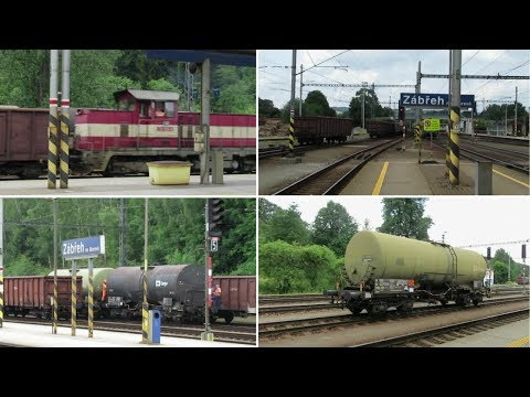 Czech Republic: Zabreh na Morave, freight wagons being loose shunted