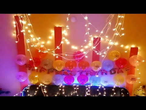 Simple Birthday Decoration At Home Birthday Celebration Idea In Lockdown Using Balloons Bday Party Youtube