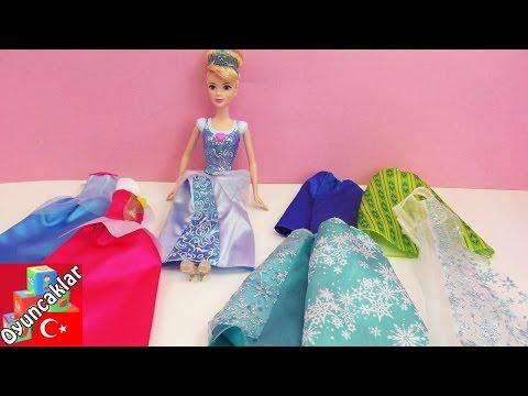 disney prensesleri türkçe cinderella bebeği elbiseler deniyor  oyuncak bebek videoları