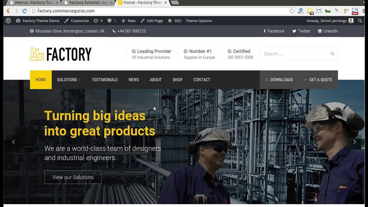How to install and setup the Factory WordPress Theme - YouTube