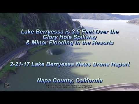 Lake Berryessa is 3.5' OVER the Glory Hole Spillway 4k HD Drone Report.