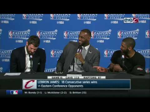 What beverage does Kevin Love celebrate with after Cavaliers win the East?
