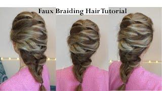 Прическа с имитацией плетения ♥ Коса без плетения ♥ Faux Braiding Hair Tutorial
