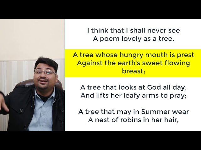 TREES BY JOYCE KILMER IN URDU/HINDI