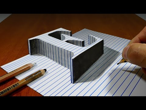 Draw a Letter E on Line Paper   3D Trick Art