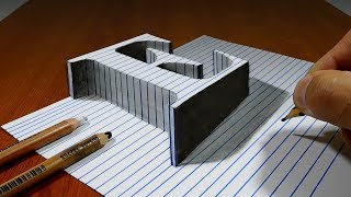 Draw a Letter E on Line Paper   3D Trick Art