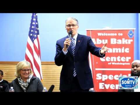 Governor of Washington Jay Inslee at Abubakr Islamic Center of WA.