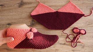 Легкие следки с бантиками спицами 🐞 Easy slippers knitting 🐞  Einfache Hausschuhe Strickmuster