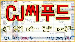 CJ씨푸드 (3분기 영업익 13억... 전년비 118%…