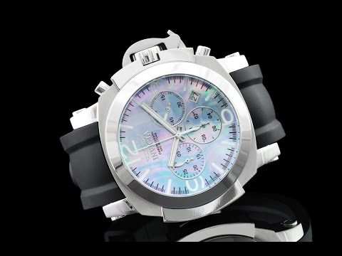 Invicta 22276 53mm Man-of-War Platinum Mother-of-Pearl Chronograph Silicone Strap Watch