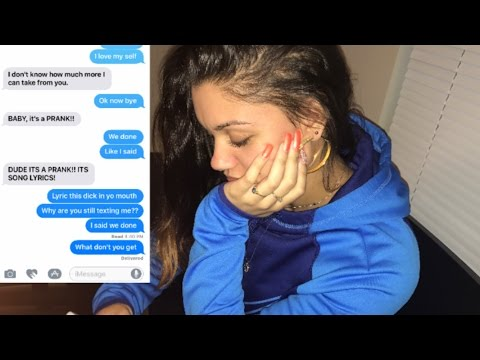 LYRIC PRANK TURNS INTO A BREAK UP PRANK ON BOYFRIEND!!!  (CHERISH - UNAPPRECIATED)