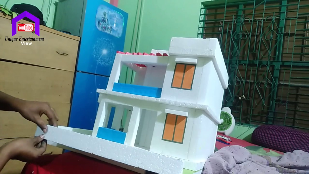 Download DIY HOW TO MAKE THERMOCOL HOUSE HOW TO MAKE TERMOCOL MINI HOME FOR SCHOOL PROJECT  DIY ROHOUSE