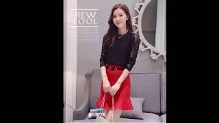Mix Áo ren + Chân váy Thời trang thu đông Hàn Quốc 2017 cho các cô nàng công sở | Webtietkiem