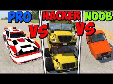 BeamNG Drive - Noob VS Pro Vs Hacker #4 (Crashes & Stunts)