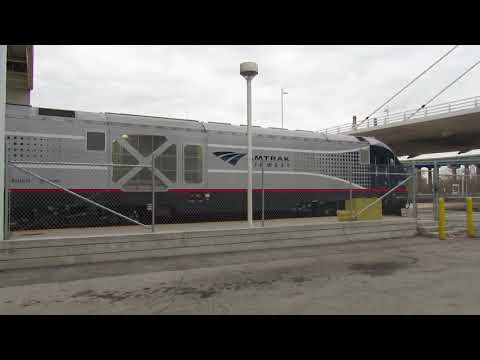Amtrak Hiawatha 338 departs Milwaukee Intermodal Station