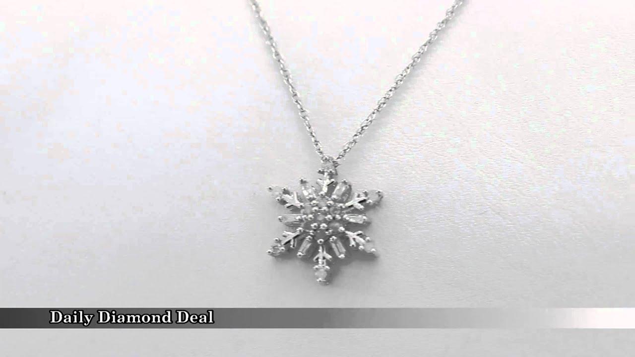 14k white gold diamond snowflake pendant necklace youtube 14k white gold diamond snowflake pendant necklace aloadofball Images