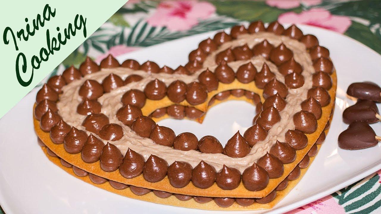 Медовый Торт с Шоколадным Кремом и Бананами ❤  Торт Сердце без Специальной Формы ✧ Ирина Кукинг