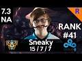 7.3 Gameplay - C9 Sneaky (Lucian) 15-8-12 Lucian standard build