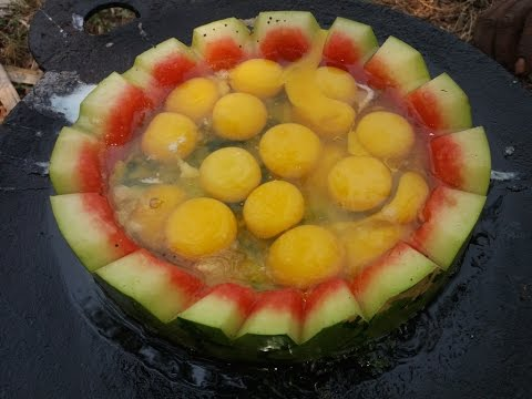 Cooking Iron Pan Watermelon Egg Fry in My Village - Food Money Food