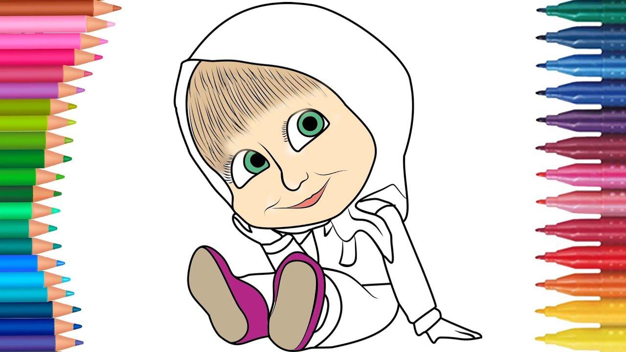 çizgi Film Karakteri Maşa Boyama Sayfası Minik Eller Boyama Kitabı