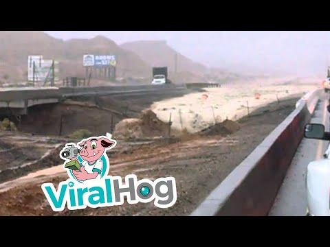 Flash flood on i-15 30 miles north of Las Vegas - Van and man sucked into water