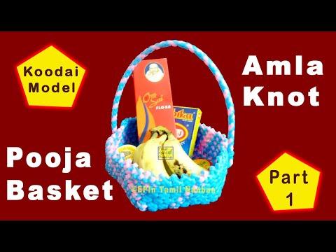 Amla Knot Pooja Basket Weaving Tutorial for Beginners, nellikai koodai poduvathu eppadi