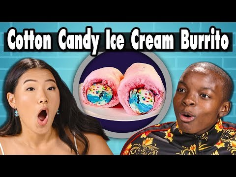 COTTON CANDY ICE CREAM BURRITO! | Teens Vs. Food