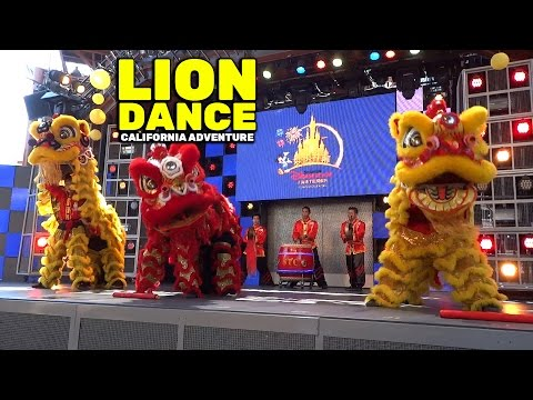 FULL Chinese lion dance in celebration of Shanghai Disneyland at Disney California Adventure