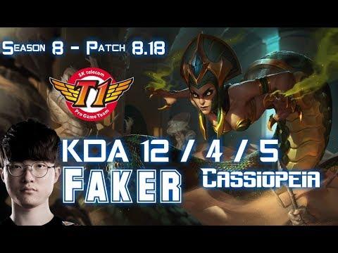 SKT T1 Faker CASSIOPEIA vs VIKTOR Mid - Patch 8.18 KR Ranked