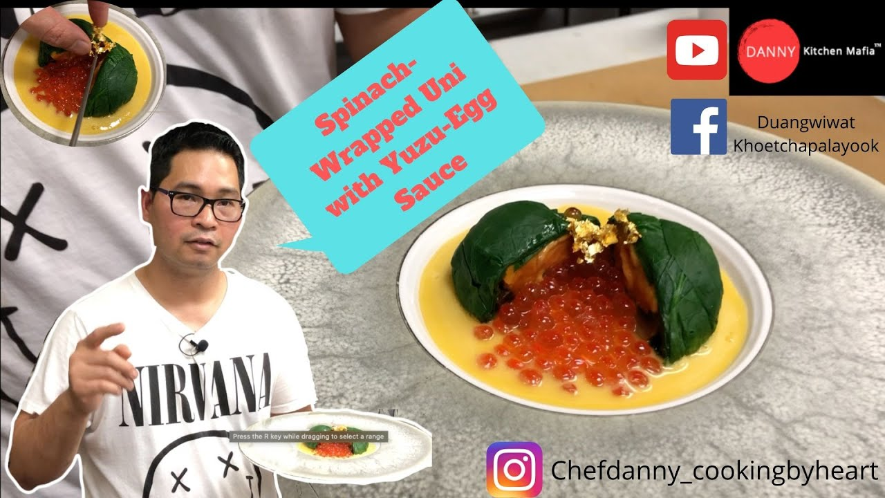 Spinach-Wrapped Uni with Yuzu-Egg Sauce | DIY | How to